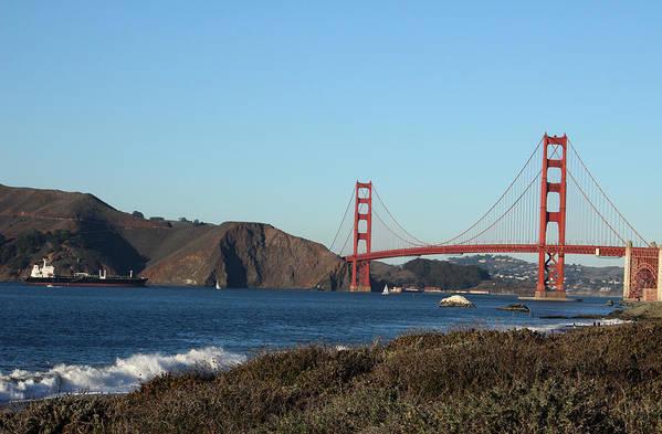 Golden Gate Bridge Art Print featuring the photograph Crashing Waves And The Golden Gate Bridge by Linda Woods