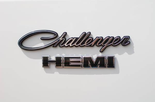 Dodge Challenger Hemi Emblem Art Print featuring the photograph Dodge Challenger Hemi Emblem by Jill Reger