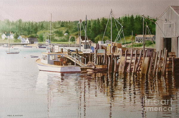 Harbor Art Print featuring the painting Downeast Reflections by Karol Wyckoff
