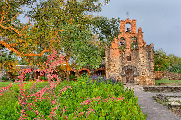 Mission Art Print featuring the photograph Early Morning Sun Caressing Mission Espada by Silvio Ligutti