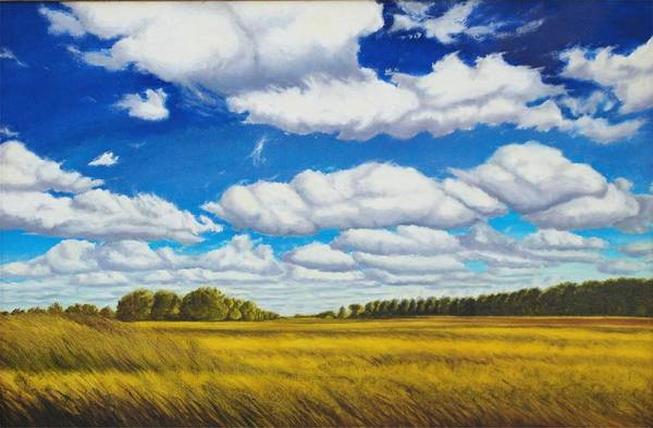 Wheat Art Print featuring the painting Early Summer Clouds by Leonard Heid