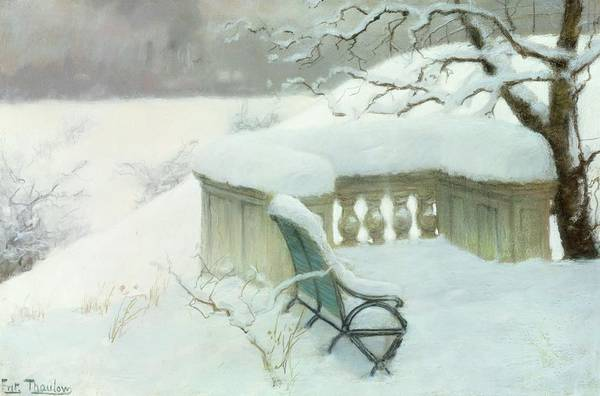 Winter Art Print featuring the painting Elbpark In Hamburg by Fritz Thaulow