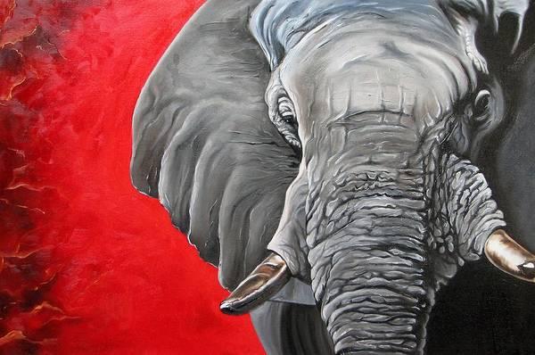 Wildlife Art Print featuring the painting Elephant by Ilse Kleyn