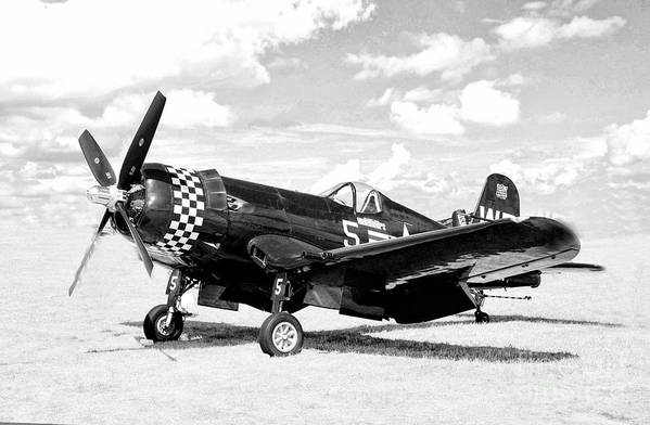 Airshow Art Print featuring the photograph F-4u Fighter Plane by Robert Kleppin