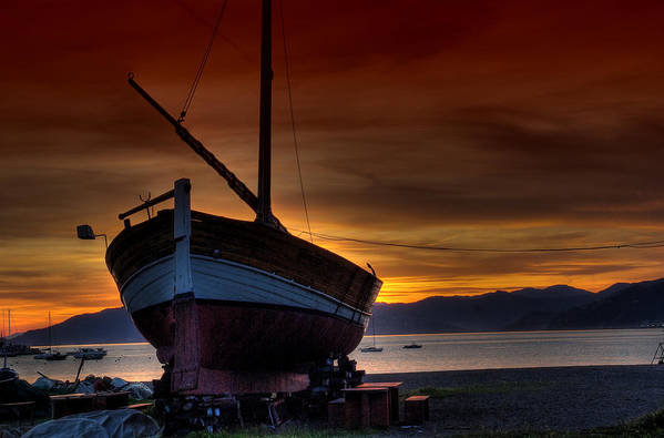Italy Art Print featuring the photograph Fishing Boat At Sunset by Christine Czernin Morzin