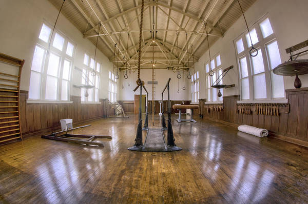 Gym Art Print featuring the photograph Fordyce Bathhouse Gymnasium - Hot Springs - Arkansas by Jason Politte