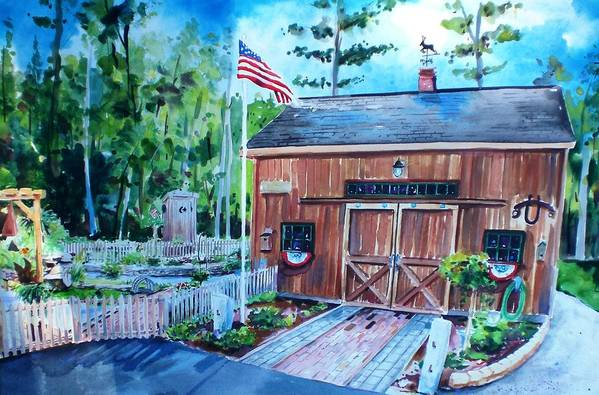 Shed Art Print featuring the painting Gardening Shed by Scott Nelson