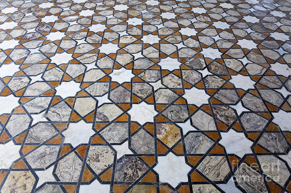 Geometric Print featuring the photograph Geometric Marble Floor Design At Lahore Fort by Robert Preston