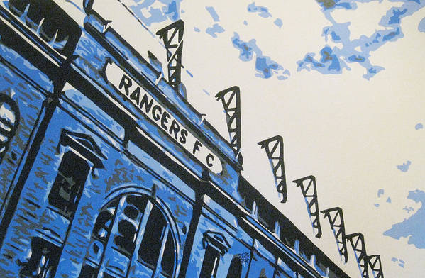 Glasgow Rangers Fc Art Print featuring the painting Glasgow Rangers Fc - Ibrox Park by Geo Thomson