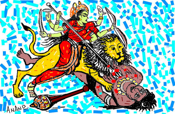 Goddess Durga Art Print featuring the digital art Goddess Durga by Anand Swaroop Manchiraju