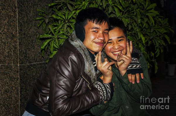 These Two Young People Were Happy To Pose For A Photograph. They Were Customers At A Sidewalk Restaurant In Hanoi. Art Print featuring the photograph Good Friends by Roberta Bragan