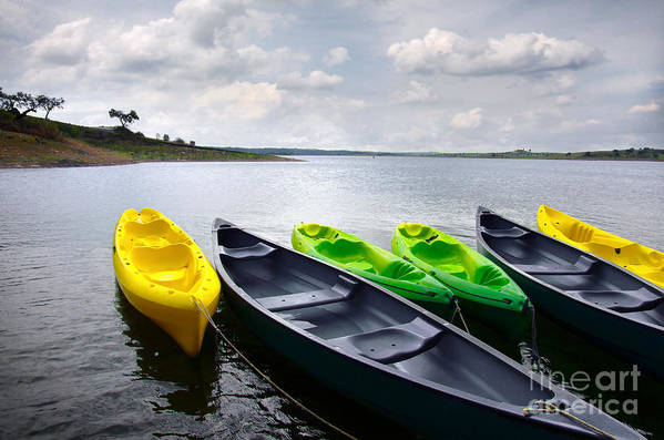 Activity Print featuring the photograph Green And Yellow Kayaks by Carlos Caetano