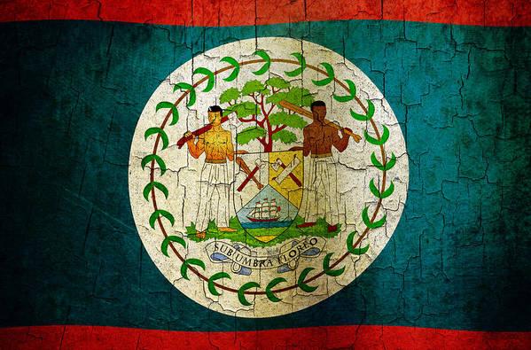Aged Art Print featuring the digital art Grunge Belize Flag by Steve Ball
