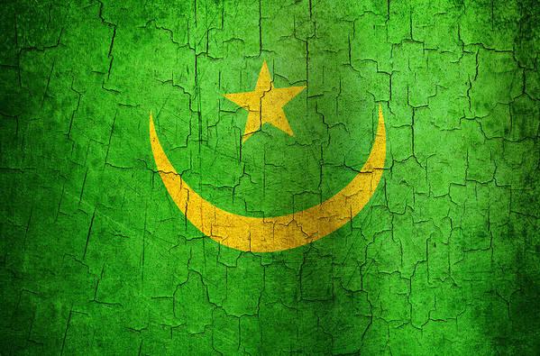 Aged Art Print featuring the digital art Grunge Mauritania Flag by Steve Ball