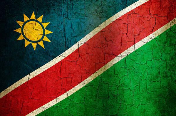 Aged Art Print featuring the digital art Grunge Namibia Flag by Steve Ball