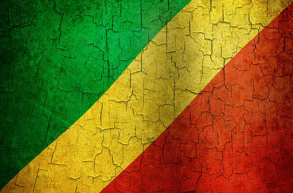 Aged Art Print featuring the digital art Grunge Republic Of The Congo Flag by Steve Ball