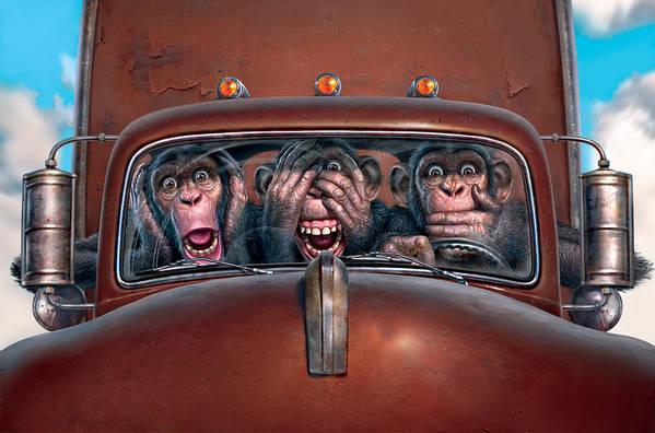 Monkeys Art Print featuring the digital art Hear No Evil See No Evil Speak No Evil by Mark Fredrickson