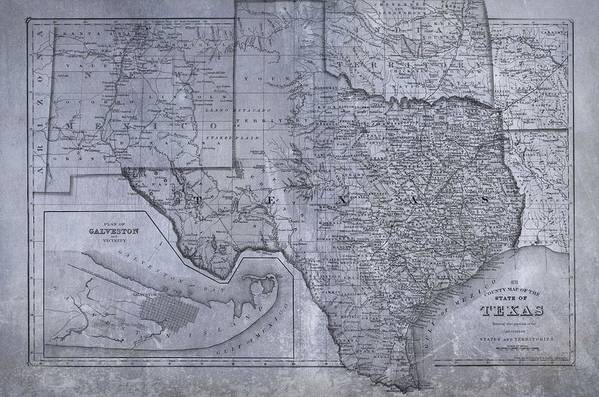 Historic Texas Map Art Print featuring the digital art Historic Texas Map by Dan Sproul