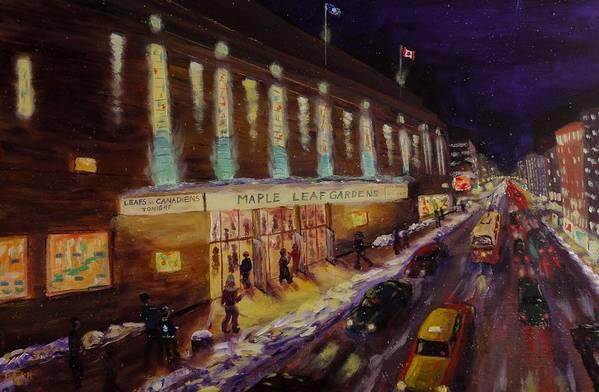 Hockey Art Print featuring the painting Hockey Memories - Maple Leaf Gardens by Brent Arlitt