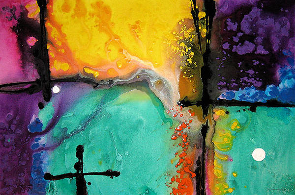 Colorful Print featuring the painting Hope - Colorful Abstract Art By Sharon Cummings by Sharon Cummings