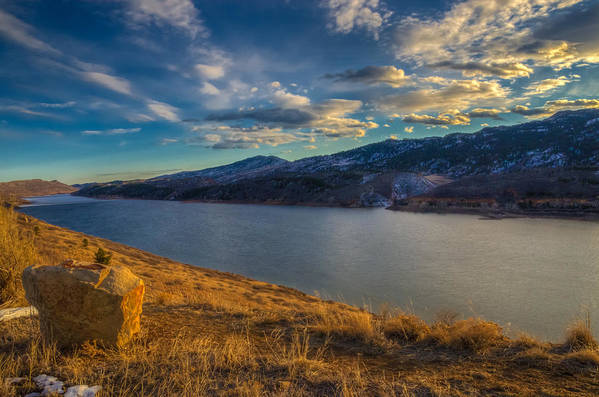 Horsetooth Reservoir Art Print featuring the photograph Horsetooth Reservoir Late Afternoon by Harry Strharsky
