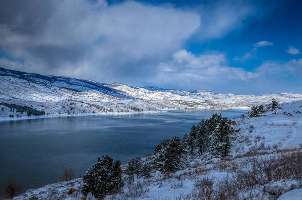 Horsetooth Reservoir Art Print featuring the photograph Horsetooth Reservoir Looking North by Harry Strharsky