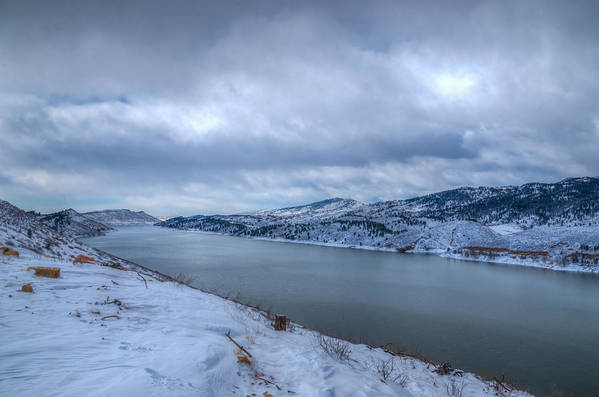 Horsetooth Reservoir Print featuring the photograph Horsetooth Reservoir Looking South by Harry Strharsky