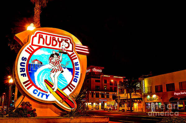 Huntington Beach Art Print featuring the photograph Huntington Beach Downtown Nightside 2 by Jim Carrell