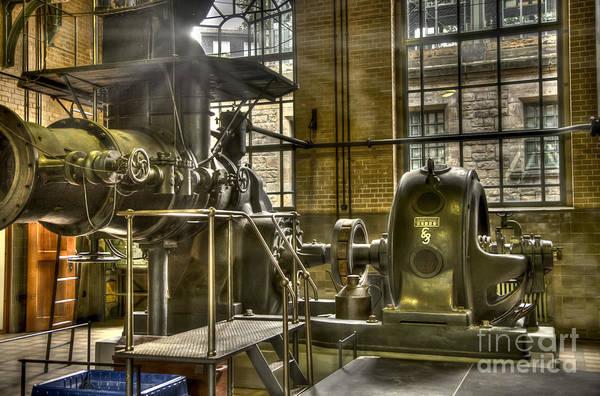 Manufactured Art Print featuring the photograph In The Ship-lift Engine Room by Heiko Koehrer-Wagner