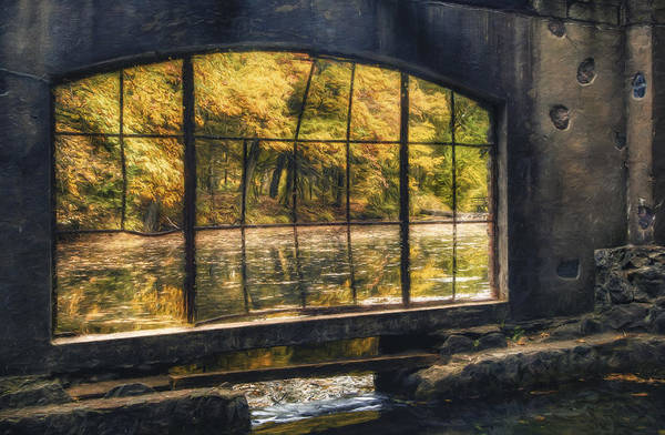 Window Print featuring the photograph Inside The Old Spring House by Scott Norris