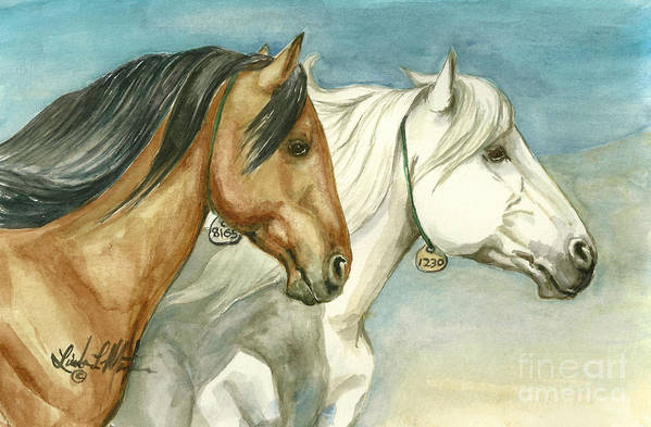 Wild Horses Art Print featuring the painting Into The Light by Linda L Martin