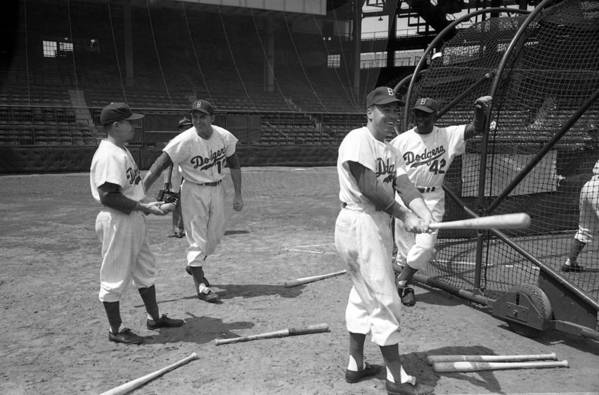 Marvin Newman Art Print featuring the photograph Jackie Robinson And Duke Snider by Retro Images Archive