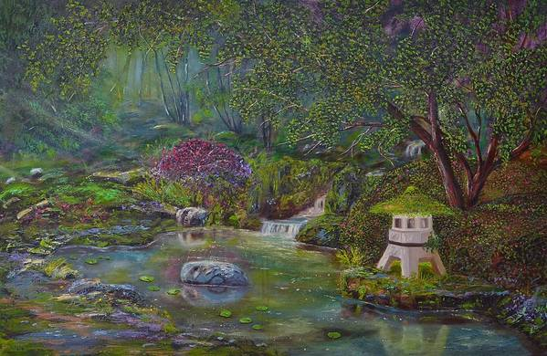 Clouds Art Print featuring the painting Japanese Garden by Michael Mrozik