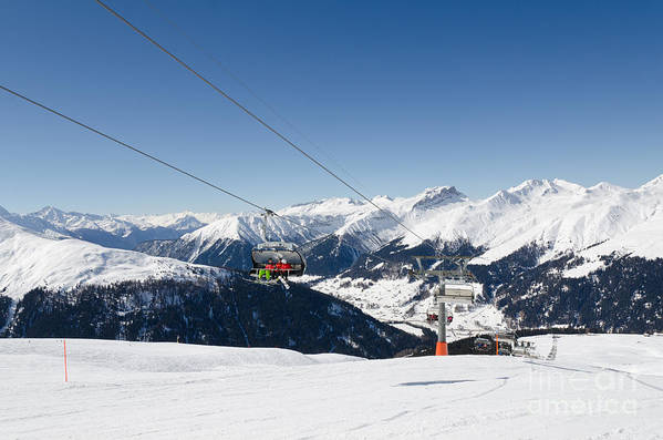 Davos Art Print featuring the photograph Jatz Jakobshorn Davos Mountains Piste by Andy Smy