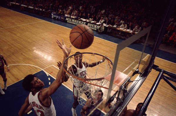 Marvin Newman Art Print featuring the photograph Kareem Abdul Jabbar Tip In by Retro Images Archive