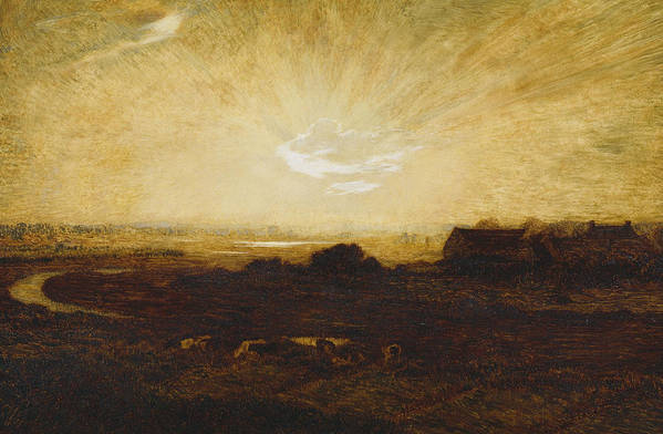 Sun Art Print featuring the painting Landscape At Sunset by Marie Auguste Emile Rene Menard