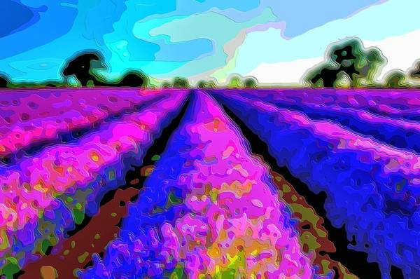 Layer-art Art Print featuring the digital art Layer Landscape Art Lavender Field by Mary Clanahan