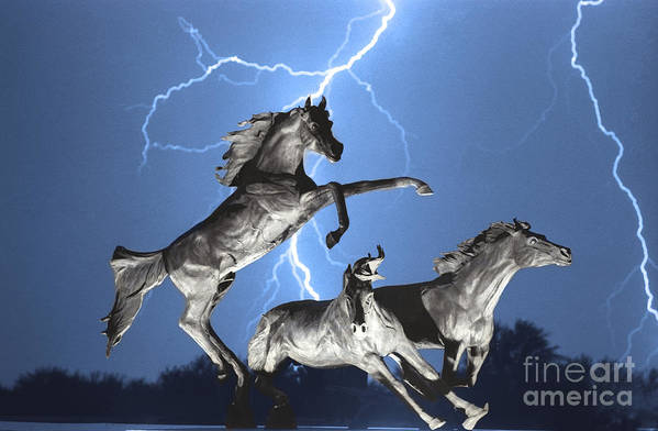 Art Print featuring the photograph Lightning At Horse World Bw Color Print by James BO Insogna
