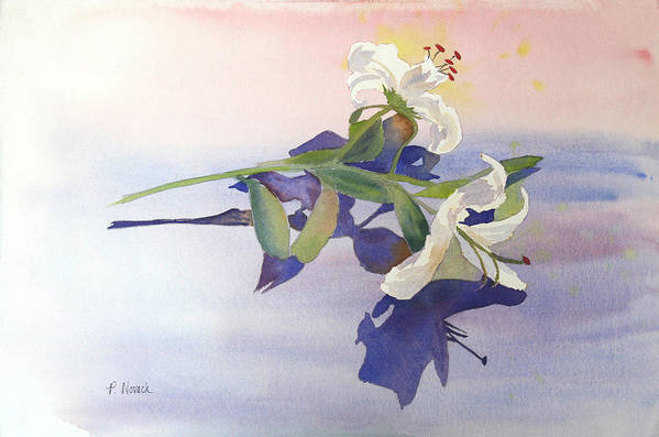 Lily Art Print featuring the painting Lilies At Rest by Patricia Novack