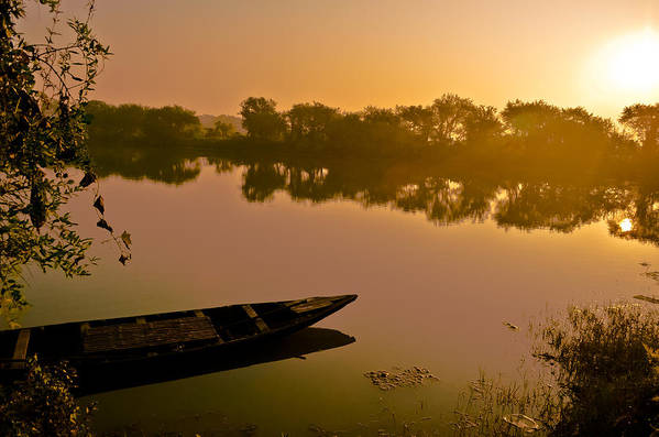 Morning Art Print featuring the photograph Lonely Boat by Sagar Lahiri