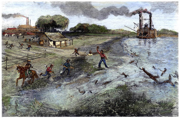 1884 Art Print featuring the painting Louisiana Broken Levee by Granger