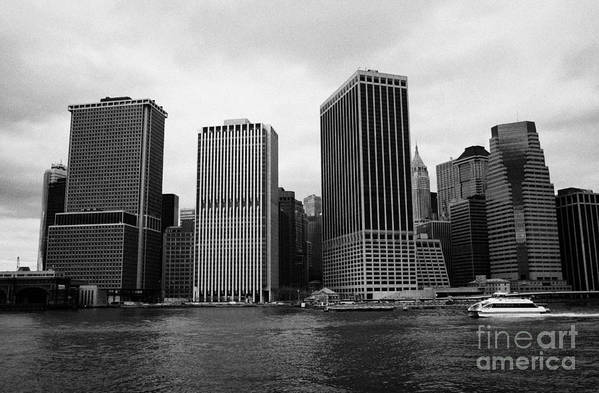 Usa Art Print featuring the photograph Lower Manhattan Shoreline And Skyline And Financial District Waterfront New York City by Joe Fox