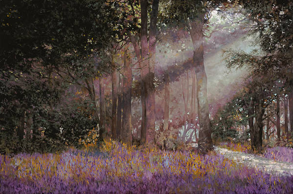 Wood Art Print featuring the painting Luci by Guido Borelli