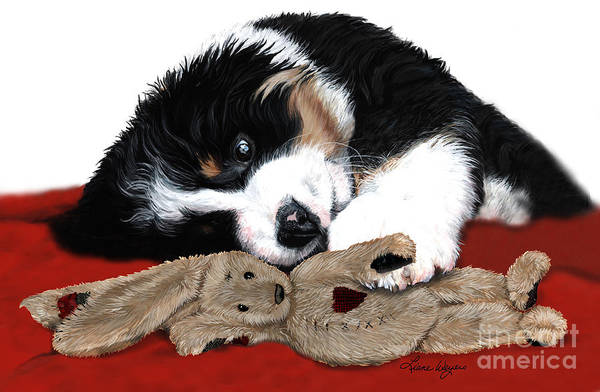 Bernese Mountain Dog Art Print featuring the painting Lullaby Berner And Bunny by Liane Weyers