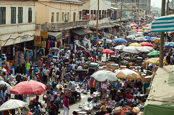 Market Scene, Accra, Ghana Art Print