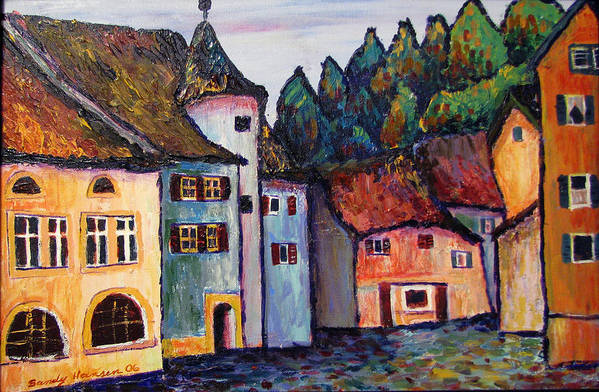 Medieval Art Print featuring the painting Medieval Village Of St. Ursanne Switzerland by Art Nomad Sandra Hansen