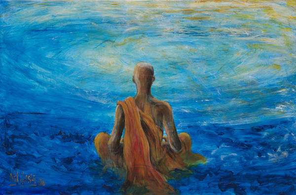 Monk Art Print featuring the painting Meditation by Nik Helbig