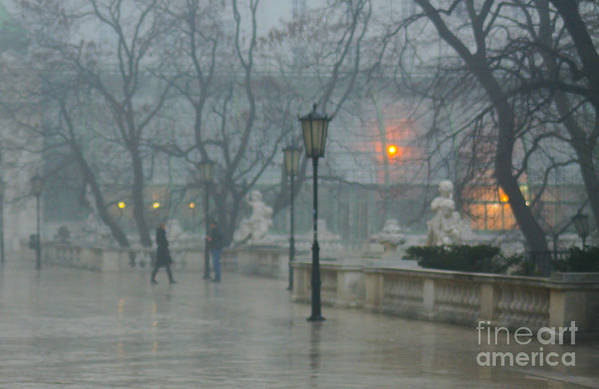 Impressionist Art Print featuring the photograph Meeting In The Rain by Carol Weitz