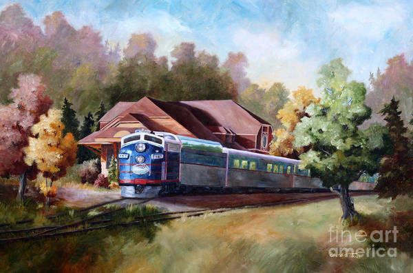 Train Fall train Painting Station Building Structure Minnesota train Station Oil Painting Original Art Print featuring the painting Minnesota Zephyr by Brenda Thour