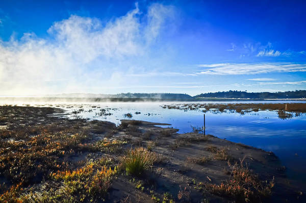 Landscape Art Print featuring the photograph Misty Lagoon by Brian Hayashi